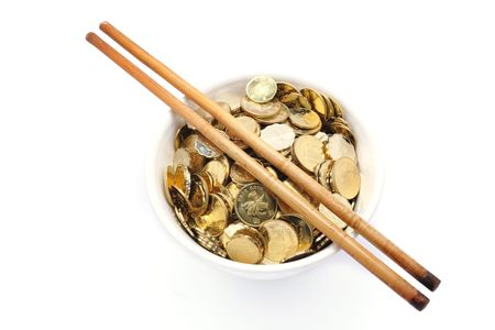 bowl of money with chopsticks Stock Photo - 6565894