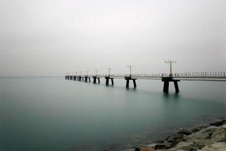 airport runway landing light on the sea photo