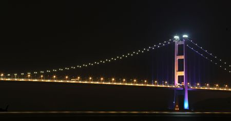 Tsing ma Bridge at night, in Hong Kong photo