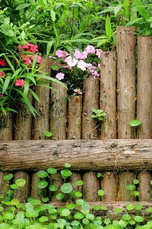wood fence in garden photo
