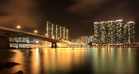 Residential Apartment Buildings in Hong Kong at night photo