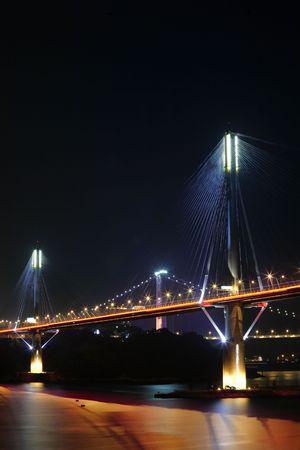 Ting Kau Bridge at night, in Hong Kong photo