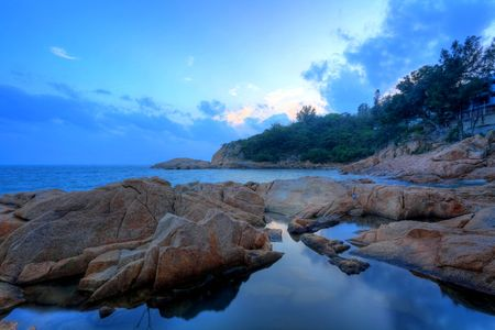 sunset on coast, in Cheung Chau, Hong Kong photo