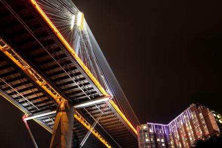 Ting Kau Bridge at night, Hong Kong photo