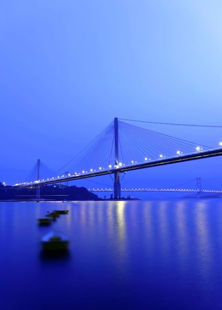 Bridge at night, in Hong Kong photo