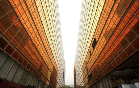 office buildings: Hong Kong Business District, Contemporary office buildings Stock Photo
