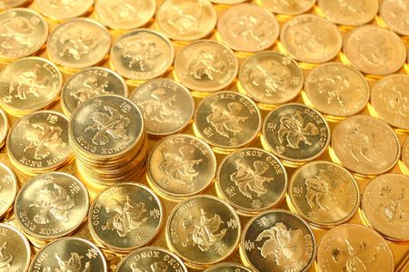 gold coins , Hong Kong currency $0.5 coins  photo