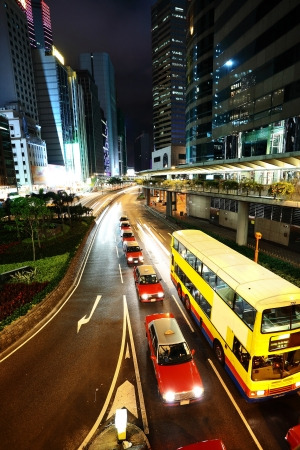 taxi and bus in Hong Kong Stock Photo - 7084060