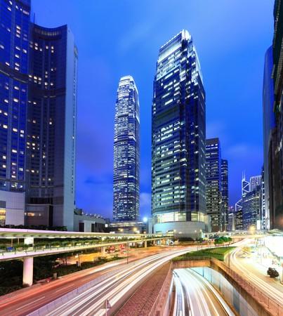 financial district: Hong Kong at night Stock Photo