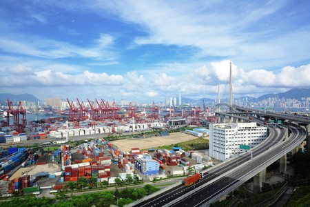 container terminal and stonecutter bridge in Hong Kong photo