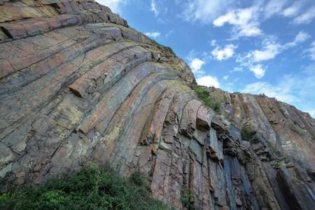geologic: Hong Kong geopark, natural hexagonal column mural  Stock Photo