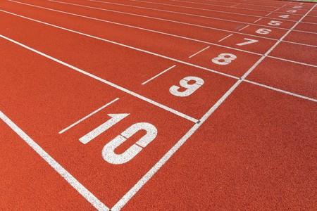 finishing school: start point on sport field Stock Photo