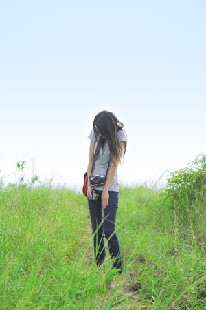 girl be scared by somethings in countryside Stock Photo - 7510836
