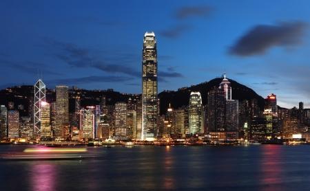 hong kong city: Hong Kong at night Stock Photo