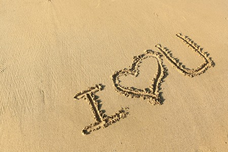i love you: I love you drawing on the beach