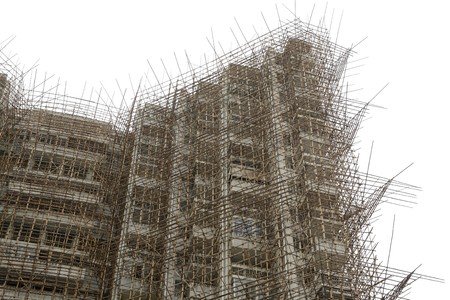 bamboo scaffolding in construction site photo