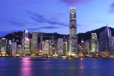 밤 홍콩의 스카이 라인