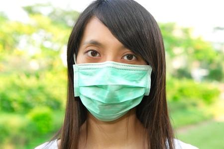 facemask: woman wear facemask Stock Photo