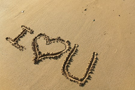 I love you drawing on the beach photo