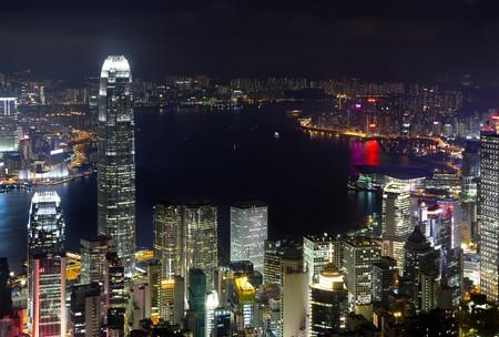 Hong Kong city at night Stock Photo - 7866288