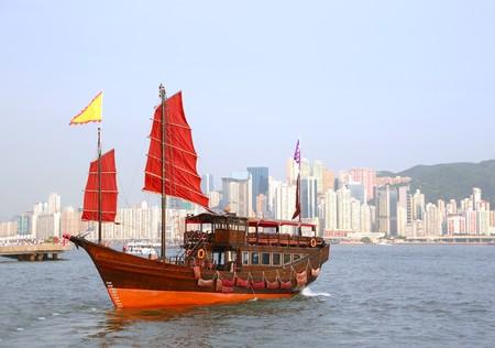 junk boat in Hong Kong photo