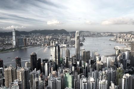 Hong Kong city in low saturation photo