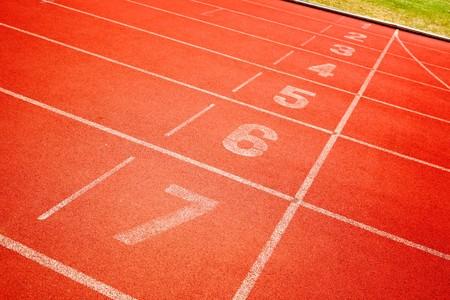 finish line of running track photo