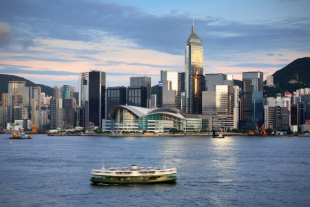 ferry: Hong Kong harbour Stock Photo