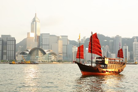 Hong Kong harbour with tourist junk Stock Photo - 8147189