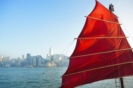 sailboat flag in Hong Kong harbor photo