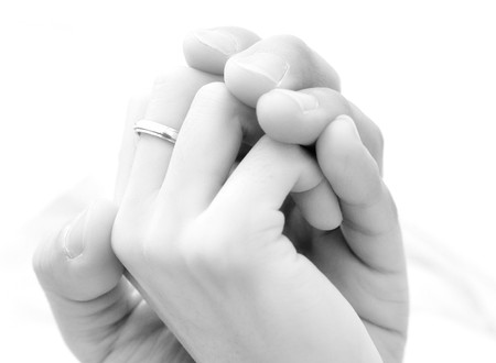 girl with rings: couple holding hands