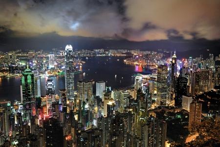 urban urban: Hong Kong cityscape at night Stock Photo