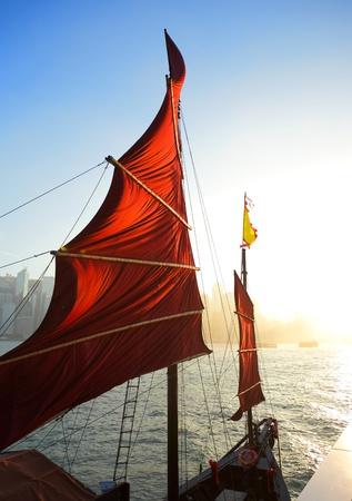 sailboat flag in Hong Kong harbor Stock Photo - 8433647