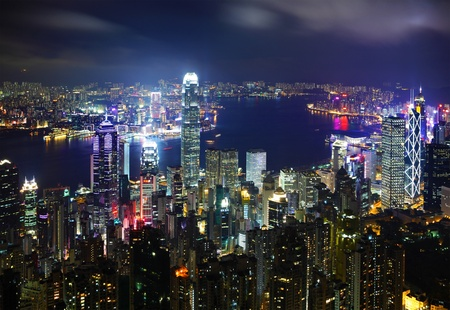 Hong Kong cityscape at night photo