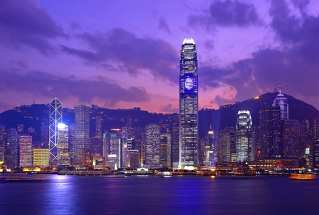 Hong Kong skyline at night Stock Photo - 8836792