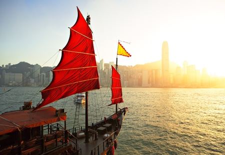 sailboat in Hong Kong harbor photo