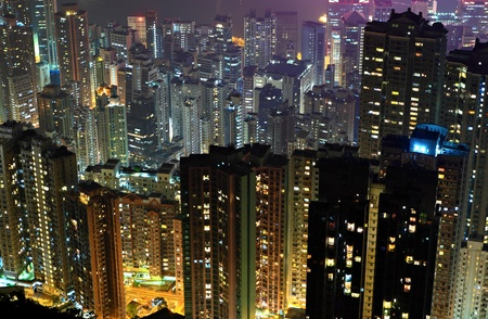 apartment building at night photo