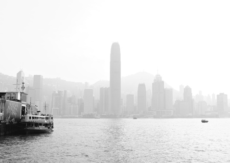 Hong Kong with heavy smog photo