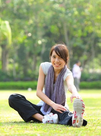 woman doing stretching exercise Stock Photo - 9246512