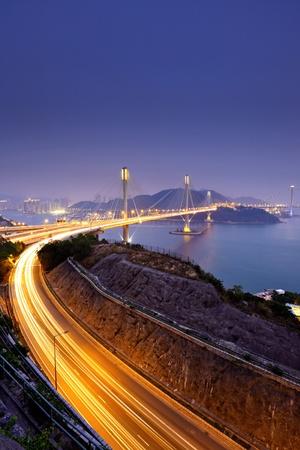 highway and Ting Kau bridge at night photo