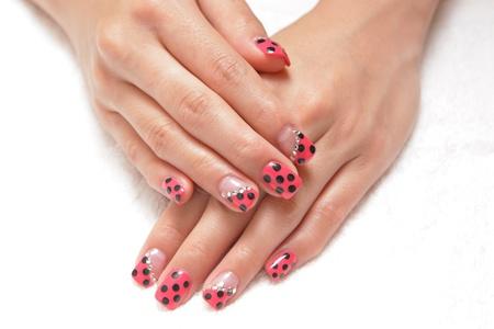 Womens hand with nice manicure photo