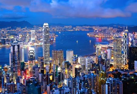 Hong Kong city at night Stock Photo
