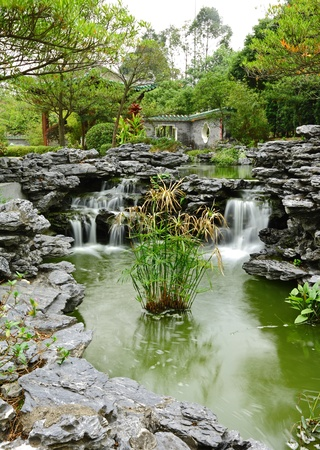 flowing water: chinese garden with flowing water
