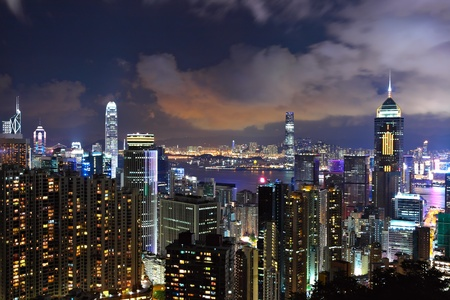 Hong Kong city at night Stock Photo - 9780406