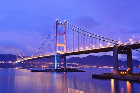 hong kong city: Tsing Ma Bridge