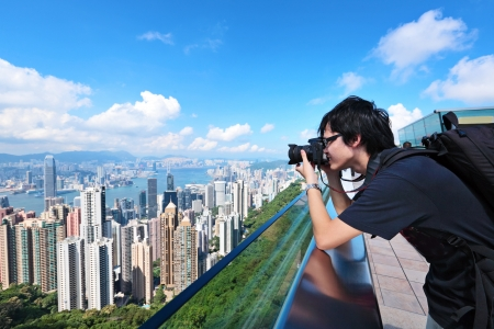 Tourist visit Hong Kong and take photo photo