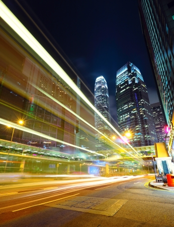 speed line: traffico in citt� di notte Archivio Fotografico