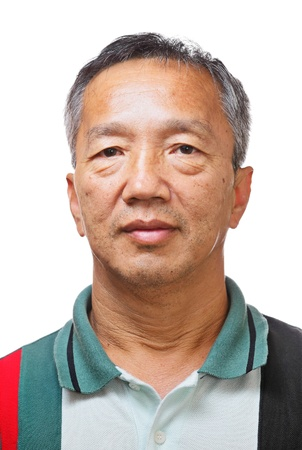 asian man face: senior asian man Stock Photo