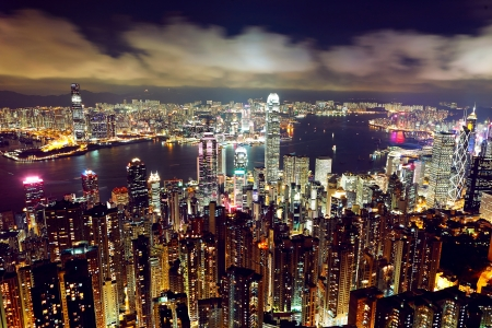 hong kong harbour: Hong Kong at night Stock Photo
