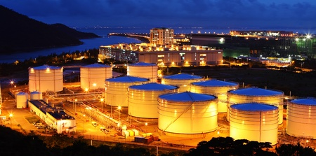 oil refinery: Aviation Fuel Tank Farm Stock Photo
